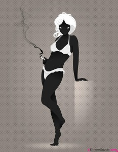 Woman, Pin-Up Girl, Temptation, Lingerie, Black And White, smoking cigarette